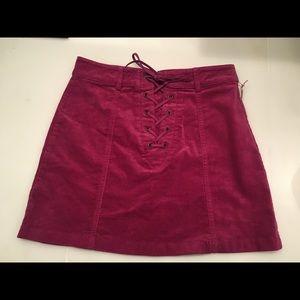 Forever21 Magenta velvet mini skirt NWT
